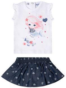 Primigi Komplet t-shirt i spódniczka Ocean Drive 45196551 Kolorowy Regular Fit
