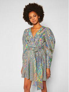 MSGM Sukienka koktajlowa 2941MDA152 207662 Srebrny Regular Fit