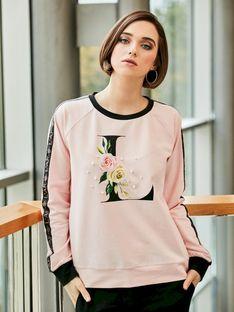 Sportowa bluza z kwiatowym nadrukiem i perełkami L`AF LIMAN