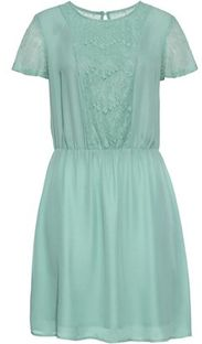 Sukienka Bonprix zielona mini na urodziny z okrągłym dekoltem wiosenna