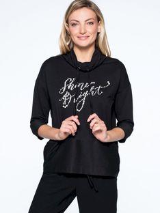 Bluza z napisem i perełkami L`AF NOA