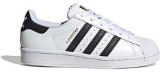 Buty sportowe damskie Adidas gładkie sznurowane na płaskiej podeszwie skórzane