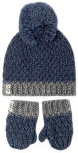 Zestaw Czapka i Rękawiczki UGG - K Infant Knit Hat And Mitt Set 18802  Ensign Blue