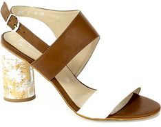 Sandały damskie Euro Moda na średnim obcasie ze skóry
