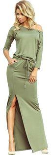 Zielona sukienka Numoco casual prosta z długimi rękawami