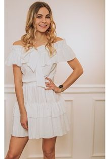 Sukienka Promese biała z krótkimi rękawami z poliamidu