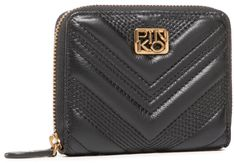 Mały Portfel Damski PINKO - Gru Wallet Zip Around M Chevronne Al 20-21 PLTT 1P21YX Y6JJ Black Z99