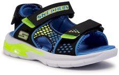 Sandały SKECHERS - Beach Glower 90558L/BBLM Blk/Blue/Lime
