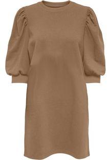 Sukienka brązowa mini z okrągłym dekoltem