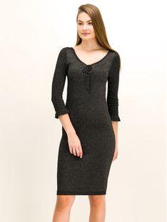 TwinSet Sukienka dzianinowa 192TT3202 Czarny Slim Fit