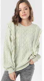 Sweter damski Born2be z okrągłym dekoltem bez wzorów casual