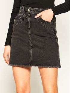 Pennyblack Spódnica jeansowa Galatina 31015020 Czarny Regular Fit