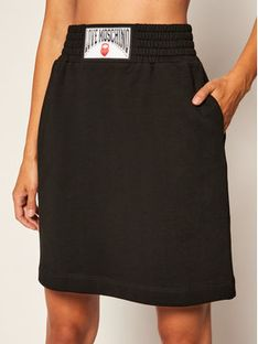 LOVE MOSCHINO Spódnica trapezowa W155080M 4055 Czarny Regular Fit