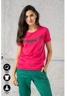 Bluzka damska Nessi Sportswear z krótkim rękawem bawełniana z okrągłym dekoltem