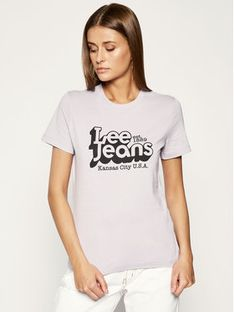 Lee T-Shirt Logo Tee L44CEPOA Fioletowy Slim Fit