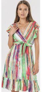 Sukienka Born2be mini z dekoltem v z krótkimi rękawami trapezowa