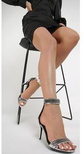 Sandały damskie Renee srebrne eleganckie na wysokim obcasie