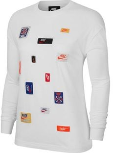 Bluzka damska biała Nike z aplikacjami  z okrągłym dekoltem