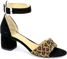 Sandały damskie Euro Moda skórzane na obcasie