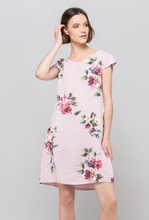 Lniana sukienka z kwiatowym wzorem
