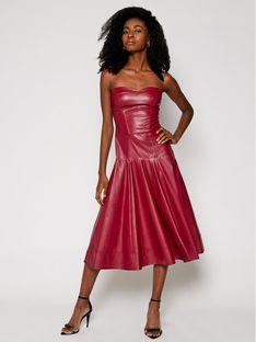 Imperial Sukienka skórzana AA5IABC Bordowy Slim Fit