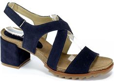 Sandały damskie Robson niebieskie na średnim obcasie skórzane na gładkie