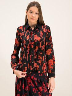 Tory Burch Koszula Floral Print Pleated Shirt 61184 Czarny Regular Fit