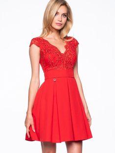 Rozkloszowana sukienka z dopasowaną górą Premiera Dona 2139
