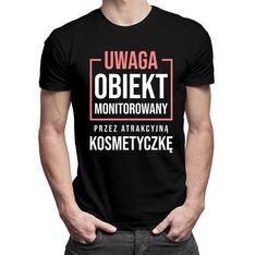Obiekt monitorowany przez kosmetyczkę - męska koszulka z nadrukiem