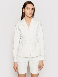 Victoria Victoria Beckham Kurtka przejściowa Double Cloth 2220WJK001115A Biały Slim Fit