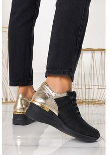 Buty sportowe damskie Casu sneakersy sznurowane czarne skórzane