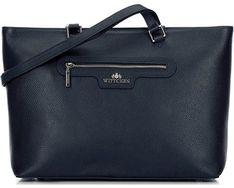 Shopper bag czarna Wittchen elegancka bez dodatków matowa mieszcząca a4