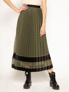 Laurèl Spódnica plisowana 71006 Zielony Regular Fit