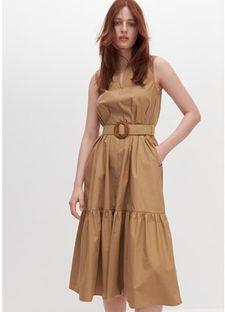 Sukienka beżowa Reserved na co dzień bawełniana bez wzorów