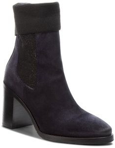 Botki TOMMY HILFIGER - Knitted Sock Heeled FW0FW03442  Midnight 403