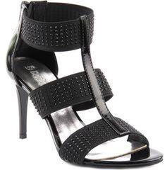 Sandały damskie Conhpol Bis skórzane w abstrakcyjnym wzorze