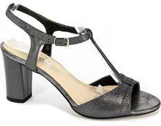 Sandały damskie czarne Lucyna eleganckie na obcasie na średnim z klamrą
