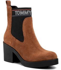 Botki TOMMY JEANS - Corporate Elastic Suede Boot EN0EN00629 Winter Cognac GVI