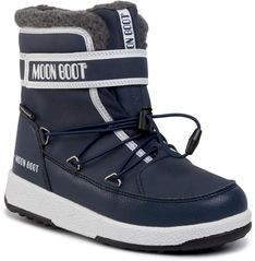 Śniegowce MOON BOOT - Jr Boy Boot Wp 34051600003 D Blue Navy/White