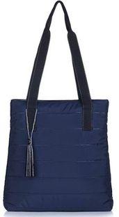 Shopper bag Felice pikowana z poliestru z frędzlami na ramię duża