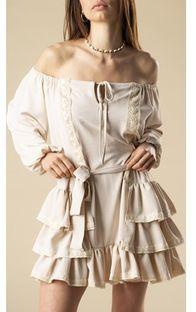 Sukienka Ptakmoda.com beżowa z długimi rękawami mini