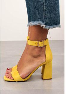 Sandały damskie Casu żółte na wysokim obcasie eleganckie bez wzorów na słupku