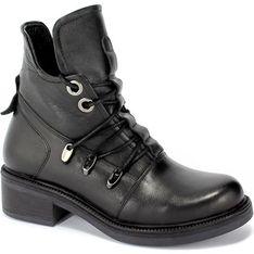 Workery damskie Toscanio czarne casual wiązane bez wzorów