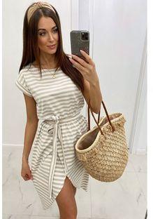 Sukienka Shopaholics Dream asymetryczna mini z okrągłym dekoltem w paski