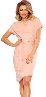 Sukienka Ptakmoda.com różowa gładka asymetryczna