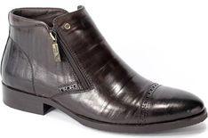 Czarne buty zimowe męskie Brooman ze skóry eleganckie