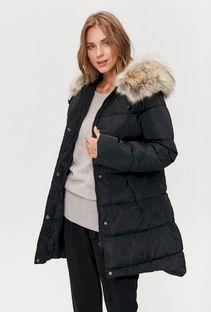 Pikowana kurtka damska ze sztucznym futrem przy kapturze