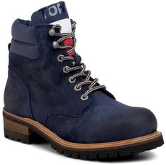 Trapery TOMMY JEANS - Suede Lace Up Boot EM0EM00354 Ink Blue CGI