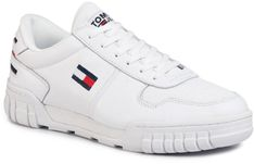 Sneakersy TOMMY JEANS - Essential Retro Sneaker EM0EM00444 White YBS