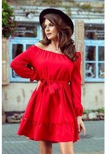 Sukienka Numoco czerwona z elastanu z długim rękawem